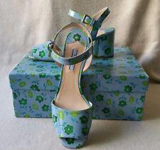 NIB Auth Prada 39 9 Floral Flower Print Patent Leather Round Heel Sandals Shoe