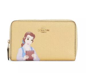 Coach C2896 Disney X Coach Medium Id Zip Wallet Princess Belle Beauty Yellow NWT