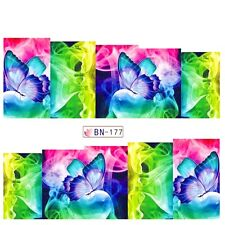Nail Art Water Decals Stickers Transfers Neon Butterflies Water Gel Polish BN177