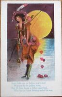 Native American Woman & Love Poem 1910 Postcard - Sunset, Bow & Arrow