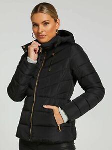 Portmans Women Hooded Down Jessica Puffer Lightweight Winter Jacket-BLACK RRP150