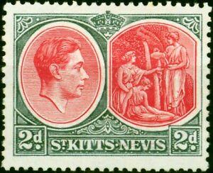 St Kitts & Nevis 1941 2d Scarlet & Grey SG71a Chalk Fine Lightly Mtd Mint
