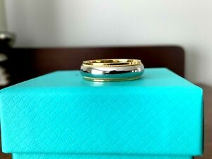 Tiffany & Co 18k GOLD and Platinum Mens Womens 6 MM Milgrain Wedding Band Size 9