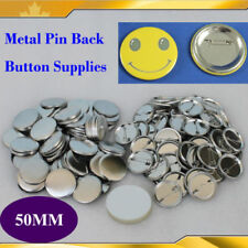 """2"""" 50mm 100Sets All metal Pin Badge Button Parts Supplies for Pro Button Maker"""