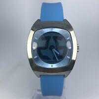 Vintage Fossil Mens JR 7903 BIG TIC Blue Leather Band Quartz Analog Watch