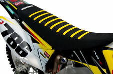 1993-1995 Suzuki Rm 125-250 All Black / Yellow Ribs Seat Cover By Enjoy Mfg (Fits: Suzuki)