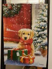New listing Christmas Tree Gift Golden Puppy Garden Flag/Banner