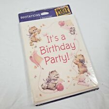 Vintage Kitten Birthday Party Invitations 8ct Glitter Baby Girl Cats Pink Sweet