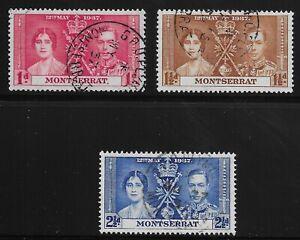 Montserrat Scott #89-91, Singles 1937 Complete Set FVF Used