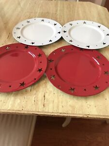 FOUR PIER 1 Decorative Plates 2 Red 2 White Used Excellent Condition.