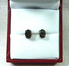 2.50 ct Natural Oval Shape Smokey Topaz Sterling Silver Stud/Post Earrings