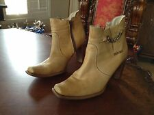 Durango Ankle Boots-Women's-Solid Tan Leather-Size 6 M US-High Heel