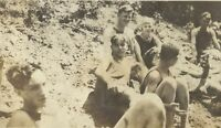 1910s Teenage Boys Girls On Creek Beach Appalachia Antique Photo