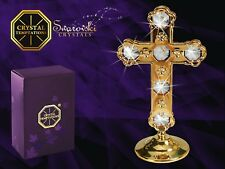 Gold Plated Cross Figurine With Swarovski Crystals
