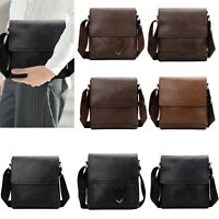 Men  Messenger Bag PU Leather Crossbody Tote Handbag Shoulder Bags Purse Fashion