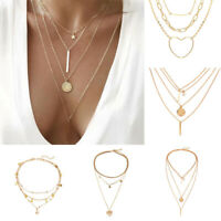 Boho Women Bib Multi Layer Chain Choker Long Statement Necklace Pendant Jewelry