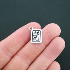 6 Tarot Card Charms Antique Silver Tone - SC130