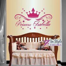Vinyl Decal  Princess Crown Stars Customized Name Baby Girl Kids Nursery Stickeг