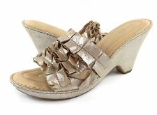 Born Crown Womens 11M Champagne Metallic Leather Wedges Sandals Heels Slides EUC