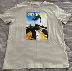NWOT Abercrombie Fitch Kids SKATEBOARDING T Shirt Boy 13/14 TAN Multicolor Print
