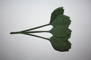"""36 x LARGE SILK GREEN ROSE LEAVES 60mm (2.25"""") ON WIRED STEMS"""