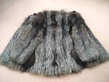 Diseñador de plata FOX pieles Completo Chaqueta larga, abrigo, 3/4 Cochecito, Georgiou, tarde 80s