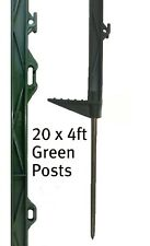 20 X GREEN 4FT POSTS 138cm Tall Electric Fencing Fence Horse Stakes Poles