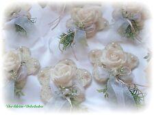 4x Sisalblüte Kommunion  Hochzeit Taufe  creme weiß Tischdeko