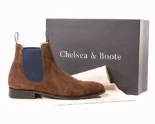 Chelsea Boots, Chocolate, Blue Elastic Size 8 By Chelsea & Boote