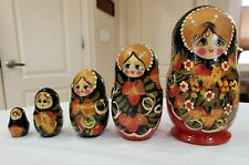 Vntg Matryoshka Russian Nesting Dolls Hand-Painted Wooden Stacking Figures 5 Pc