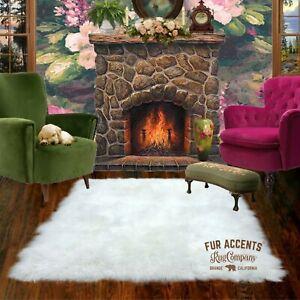 Shag Carpet Rectangle - Premium Faux Fur - White Sheepskin Area Rug