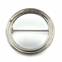 Vintage Coro Silver Tone 1.25 Inch Round Channel Openwork Brooch Scarf Lapel Pin
