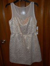 NWT Elle Ivory & Gold Brocade and Sheer Chiffon Bodice Party Dress, Size 10, $64