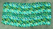 fine Cejon silk neck  scarf green blue black line bar print