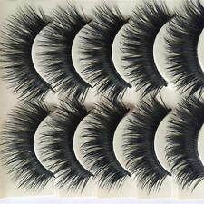 5 Pair Blue+Black Long Thick Cross False Eyelashes Handmade Makeup Eye Lashes LC