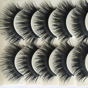 5 Pair Blue+Black Long Thick Cross False Eyelashes Handmade Makeup Eye Lashes LA