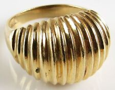14 Karat Yellow Gold Dome Shaped Ladies Ring. Signed 14K Size 6 to 6-1/4