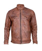 Men's Vintage Distressed Brown Biker Cafe Racer Leather Jacket-Slim fit