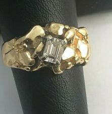 14k Nugget Gold Ring with 4mm X 5.55mm Emerald Cut Diamond Size 8