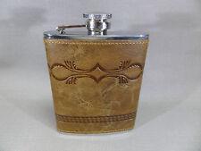 Flachmann PELLE MARRONE CON INCISO Ornamento/tessuto tradizionale - 6 once -