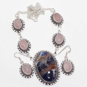 Sodalite Rose Quartz 925 Sterling Silver Plated Necklace Earrings Set GW