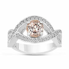 1.42 Carat Pink Peach Morganite Engagement Ring 14K White Gold Bridal Certified
