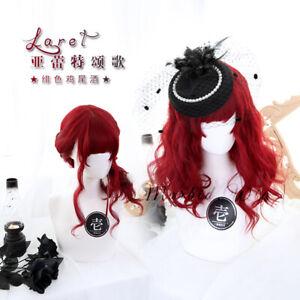 Red Sweet Cute Princess Lolita Harajuku Women Curly Hair Cosplay Daily Full Wigs