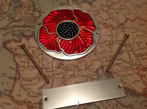 Red Enamelled Poppy Grille Car Badge with Grille Fixings British Legion Anodised
