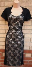 ROMAN V NECK BLACK GREY LACE PRINT SLIM BODYCON TUBE PENCIL PARTY FORMAL DRESS S