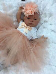 REBORN GIRL DOLL PEACH TUTU AWAKE BABY PIPPA