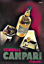 L'ARTE annuncio PUBBLICITARIO CORDIAL CAMPARI DRINK BEVANDE Deco Poster stampati