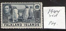 FALKLAND ISLANDS 2/6 H90c Yellowish Slat 1944 Issue . lightly hinged, verified