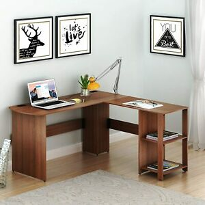 SHW L-Shaped Home Office Wood Corner Desk, Walnut New