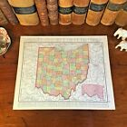 Large Original 1898 Antique Map OHIO Toledo Akron Dayton Parma Canton Youngstown